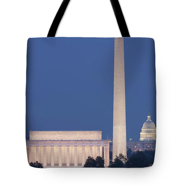 Dc Landmarks At Twilight Tote Bag by Clarence Holmes