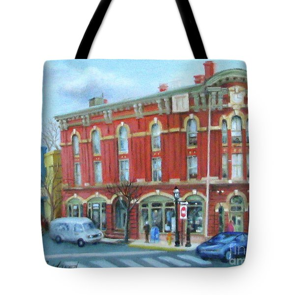 Tote Bag featuring the painting dDowntown Doylestown by Oz Freedgood