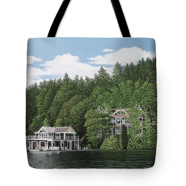 Tote Bag featuring the painting De Groote Summer Home Muskoka by Kenneth M Kirsch