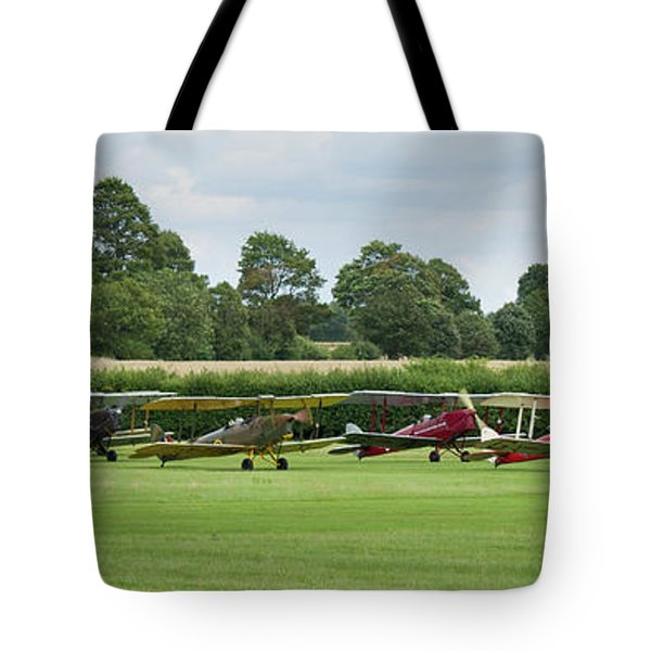 Tote Bag featuring the photograph De Havilland Tiger Moths Line-up by Gary Eason