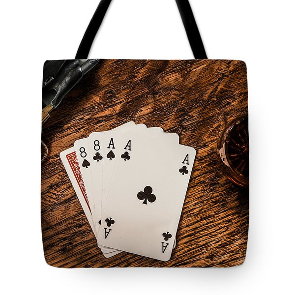 Dead Mans Hand A Gun And A Shot Of Whiskey Tote Bag