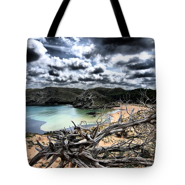 Dead Nature Under Stormy Light In Mediterranean Beach Tote Bag by Pedro Cardona
