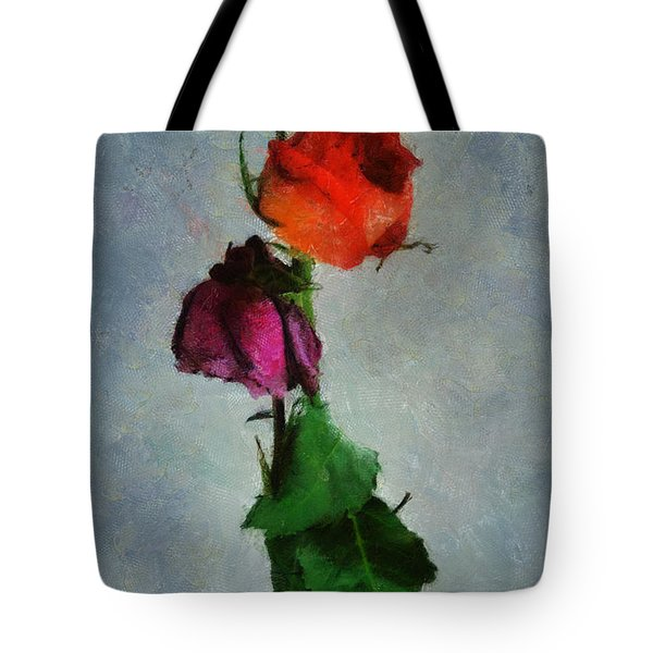 Tote Bag featuring the digital art Dead Roses by Francesa Miller