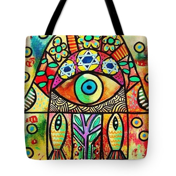 Dead Sea Fish Hamsa Tote Bag