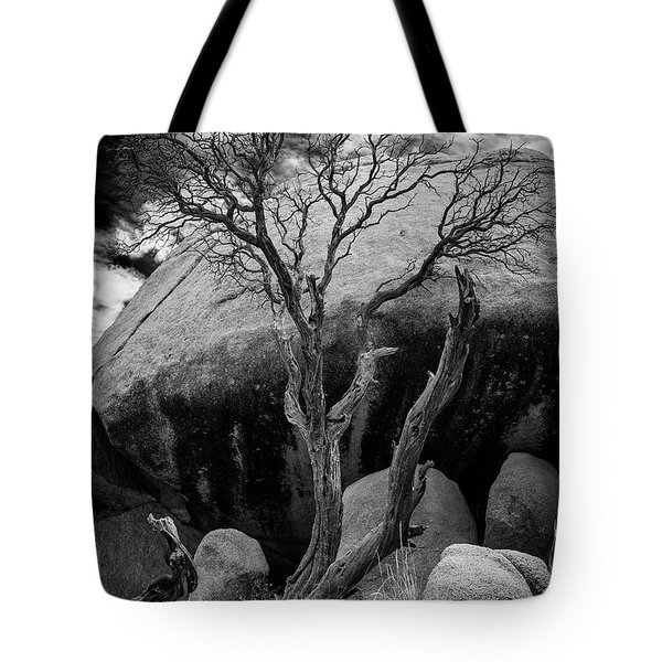 Dead Tree And Boulder At Joshua Tree Tote Bag