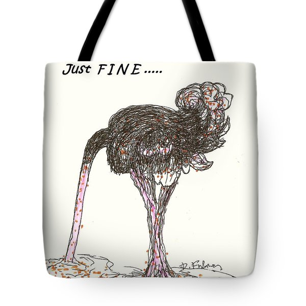 Tote Bag featuring the drawing Dealing Just Fine by Denise Fulmer