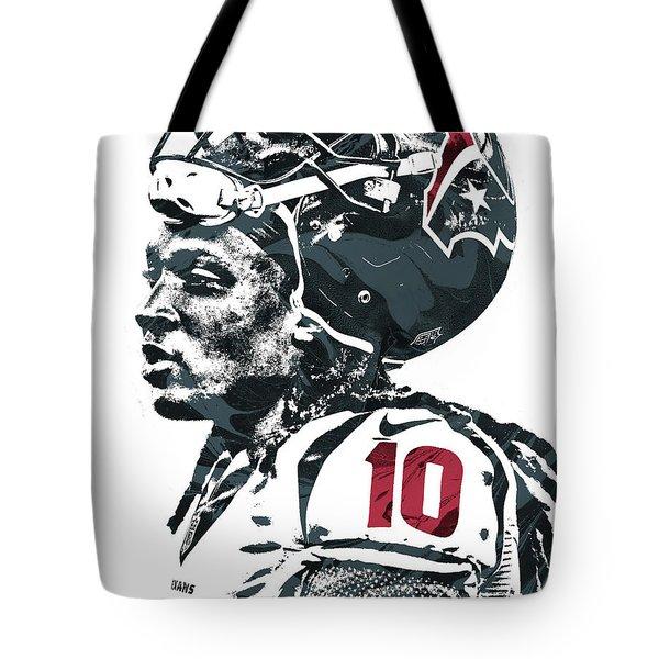 Tote Bag featuring the mixed media Deandre Hopkins Houston Texans Pixel Art 2 by Joe Hamilton