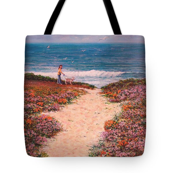 Tote Bag featuring the painting Deanna And Bugsy At Half Moon Bay by Dee Davis