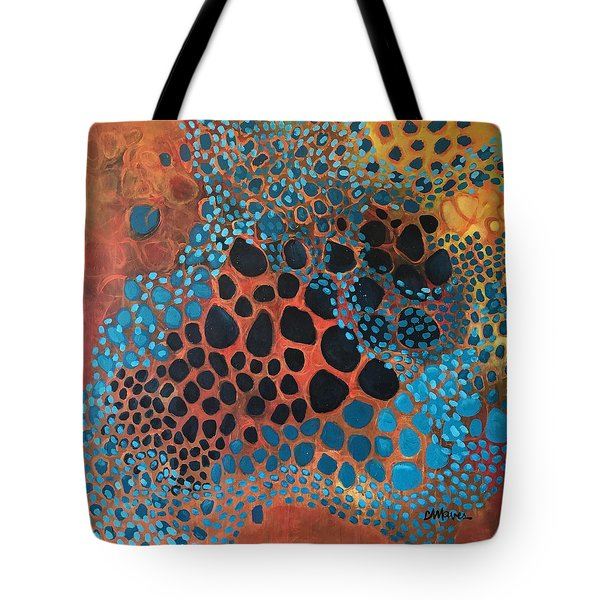 Tote Bag featuring the painting Dear Sugar What Can I Learn From An Orange Sky? by Laurie Maves ART