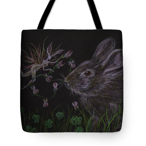 Tote Bag featuring the drawing Dearest Bunny Eat The Clover And Let The Garden Be by Dawn Fairies