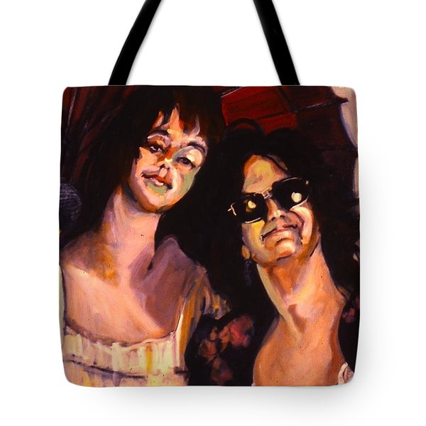 Tote Bag featuring the painting Debbie And Kate by Les Leffingwell