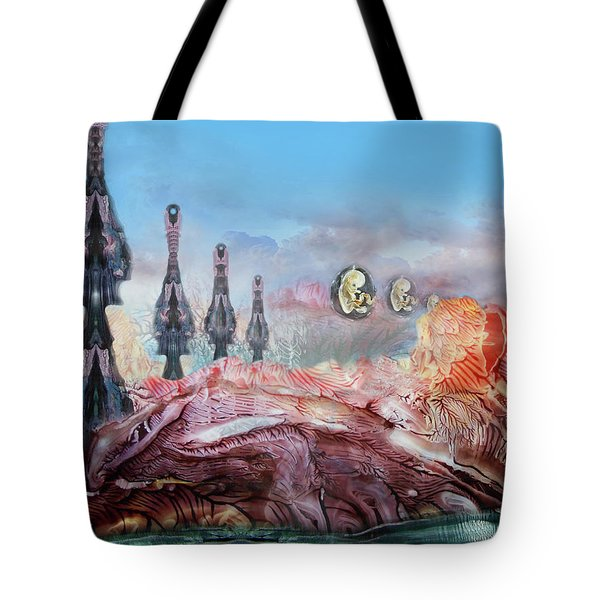 Decalcomaniac Transmission Towers Tote Bag by Otto Rapp
