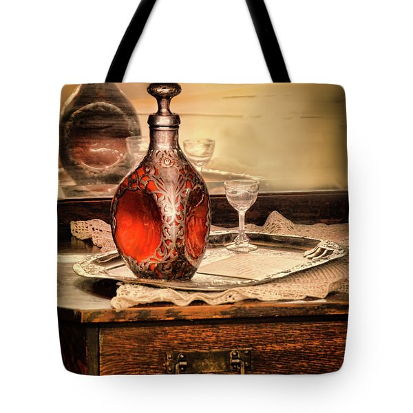 Decanter And Glass Tote Bag by Jill Battaglia