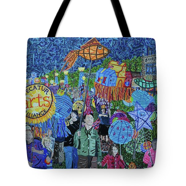Decatur Lantern Parade Tote Bag by Micah Mullen