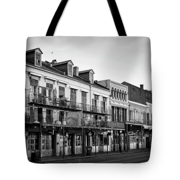 Decatur Street New Orleans In Black And White Tote Bag