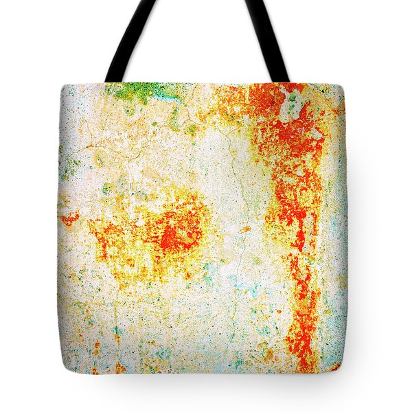 Tote Bag featuring the photograph Decayed Wall With Orange Paint by Silvia Ganora