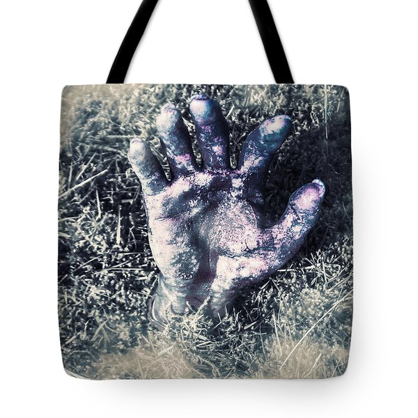 Decaying Zombie Hand Emerging From Ground Tote Bag