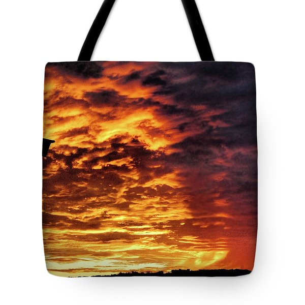 Tote Bag featuring the painting December Austin Sunset  by Layne William LoMaglio