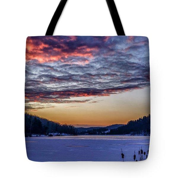 December Dawn On The Lake Tote Bag