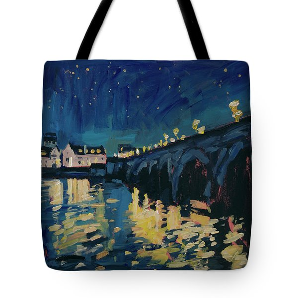 December Lights At The Old Bridge Tote Bag