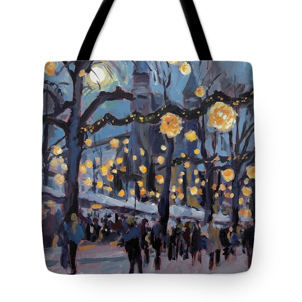 December Lights At The Our Lady Square Maastricht 1 Tote Bag by Nop Briex