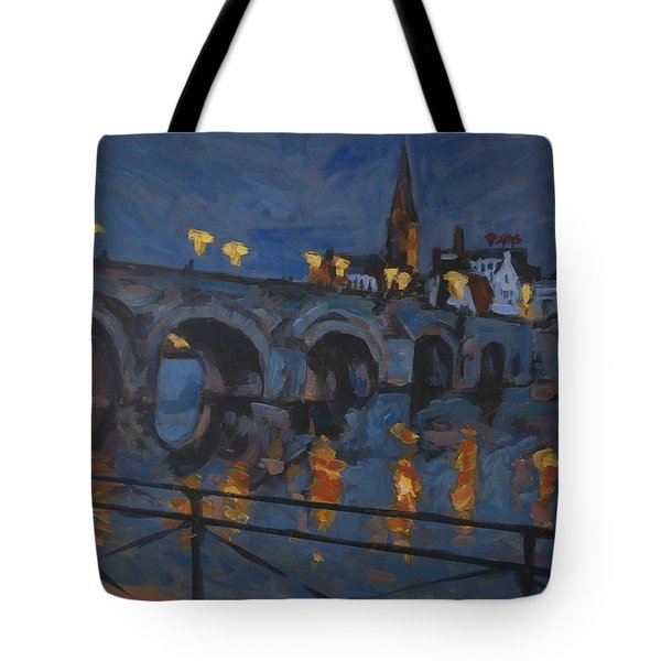 December Lights Old Bridge Maastricht Acryl Tote Bag