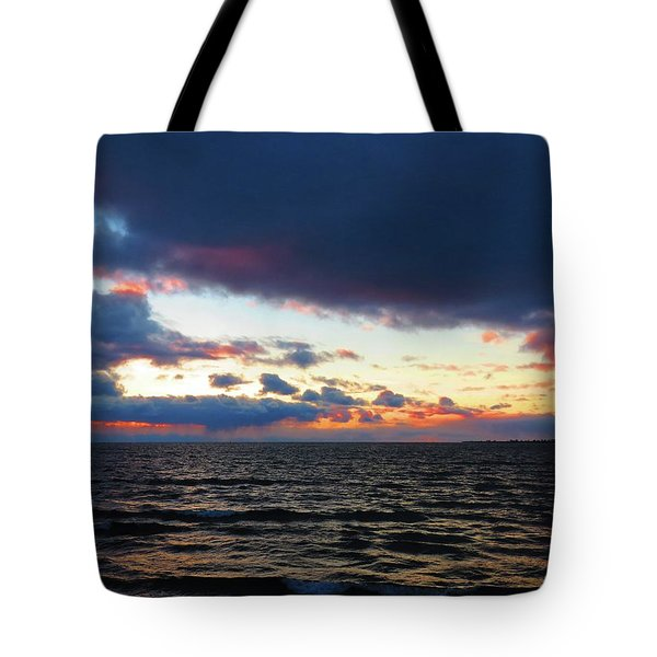 December Sunset, Wolfe Island, Ca. View From Tibbetts Point Lighthouse Tote Bag