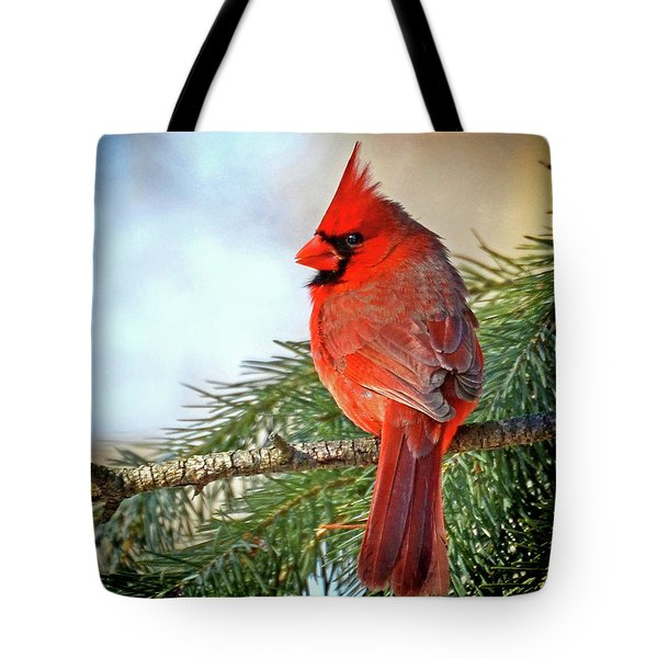 Tote Bag featuring the photograph December's Cardinal by Rodney Campbell