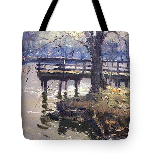 Deck At Tonawanda Canal Tote Bag