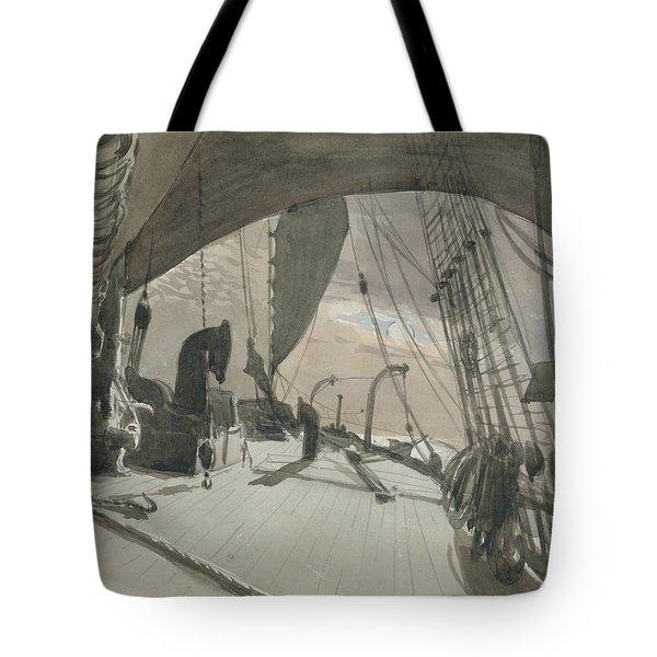 Deck Of Ship In Moonlight Tote Bag