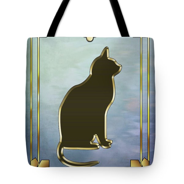 Tote Bag featuring the digital art Deco Cat 2 by Chuck Staley
