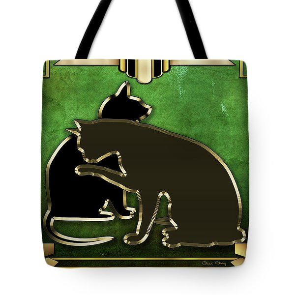 Tote Bag featuring the digital art Deco Cats - Emerald by Chuck Staley