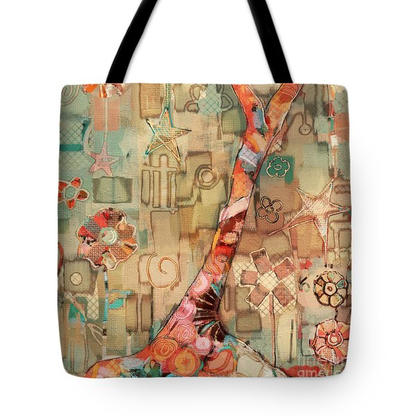 Tote Bag featuring the painting Deco Tree by Carrie Joy Byrnes