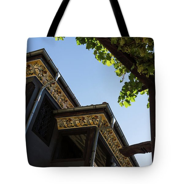 Decorated Eaves And Grapes Trellis - Old Town Plovdiv Bulgaria Tote Bag by Georgia Mizuleva