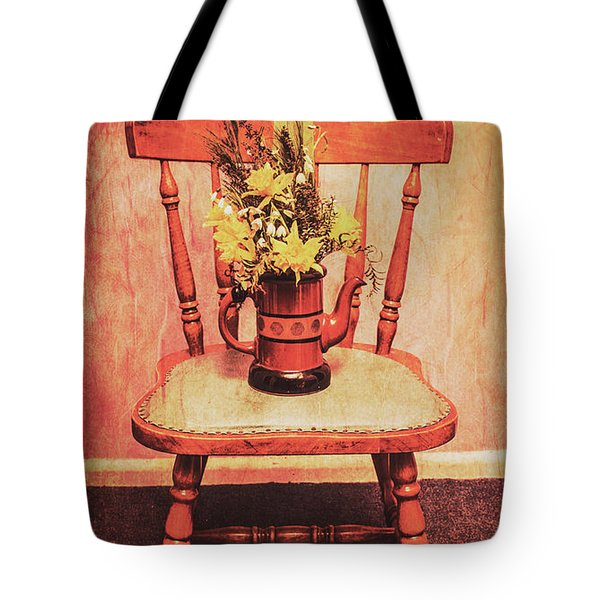 Decorated Flower Bunch On Old Wooden Chair Tote Bag