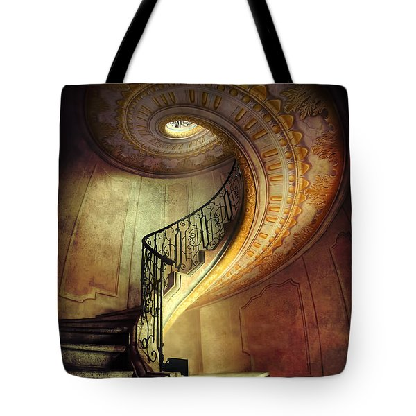 Tote Bag featuring the photograph Decorated Spiral Staircase  by Jaroslaw Blaminsky
