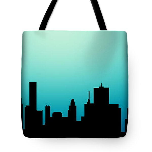 Tote Bag featuring the painting Decorative Abstract Skyline Houston R1115a by Mas Art Studio