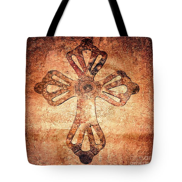 Tote Bag featuring the painting Decorative Antique Cross A39816 by Mas Art Studio