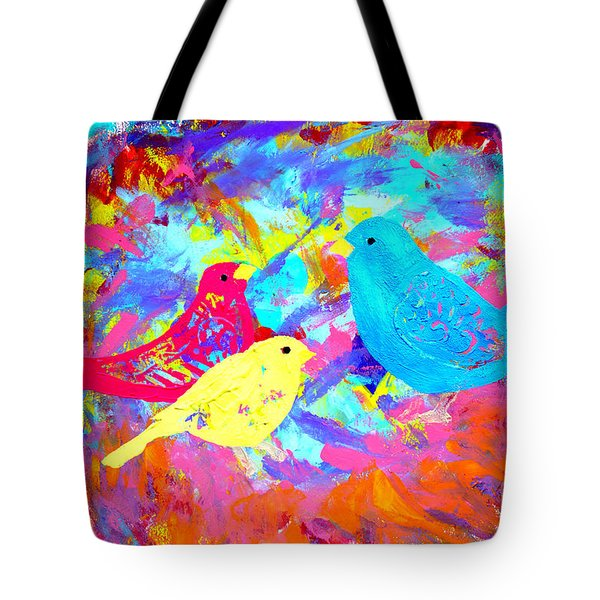 Tote Bag featuring the painting Decorative Birds D132016 by Mas Art Studio