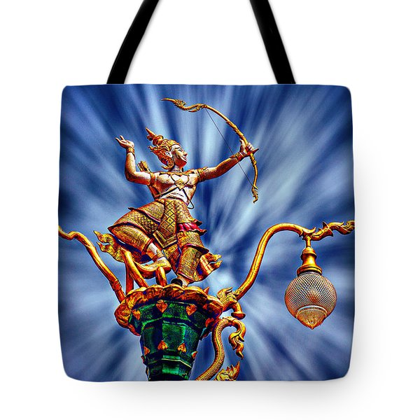 Decorative City Lamp Post Khon Kaen-thailand Tote Bag by Ian Gledhill