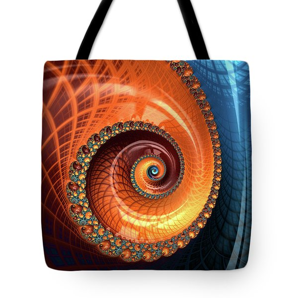 Tote Bag featuring the digital art Decorative Fractal Spiral Orange Coral Blue by Matthias Hauser
