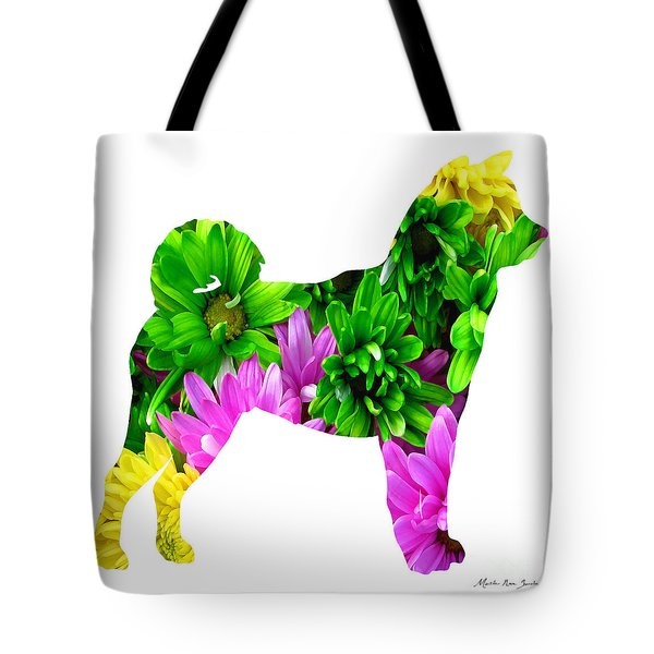 Tote Bag featuring the painting Decorative Husky Abstract O1015d by Mas Art Studio