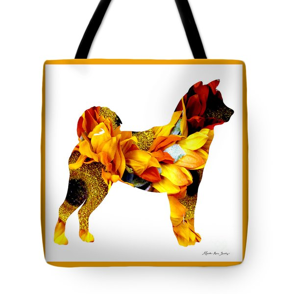 Tote Bag featuring the painting Decorative Husky Abstract O1015g by Mas Art Studio