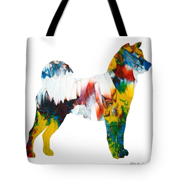 Tote Bag featuring the painting Decorative Husky Abstract O1015m by Mas Art Studio