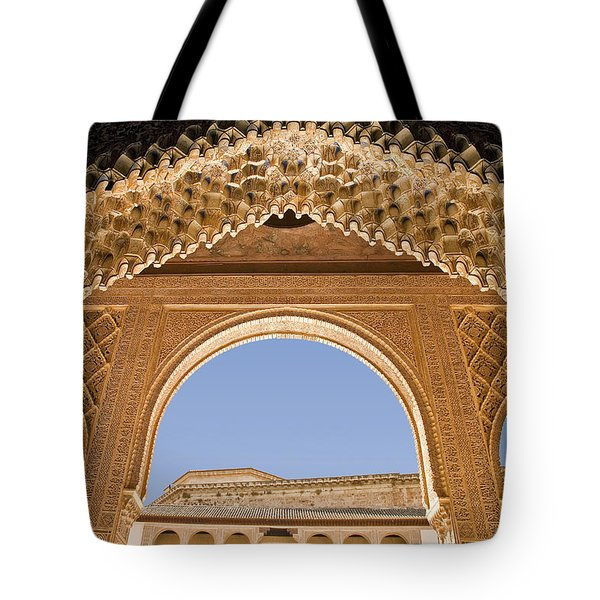 Decorative Moorish Architecture In The Nasrid Palaces At The Alhambra Granada Spain Tote Bag by Mal Bray