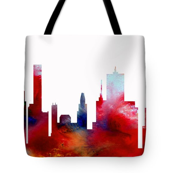 Tote Bag featuring the painting Decorative Skyline Abstract  Houston T1115d by Mas Art Studio