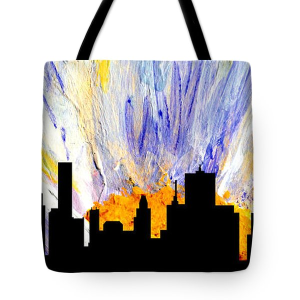 Tote Bag featuring the painting Decorative Skyline Abstract  Houston T1115v1 by Mas Art Studio