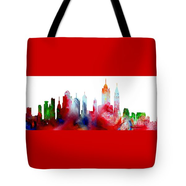 Tote Bag featuring the painting Decorative Skyline Abstract New York P1015c by Mas Art Studio