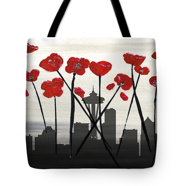 Tote Bag featuring the painting Decorative Skyline Abstract  Seattle T1115x1 by Mas Art Studio