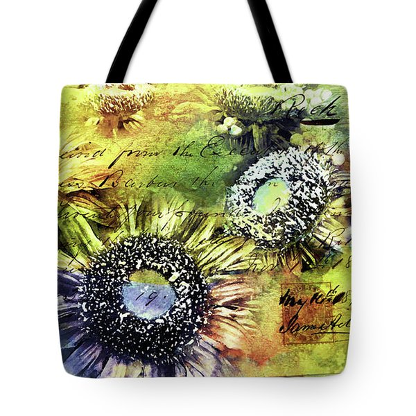 Tote Bag featuring the painting Decorative Sunflowers Mixed Media A772016  by Mas Art Studio